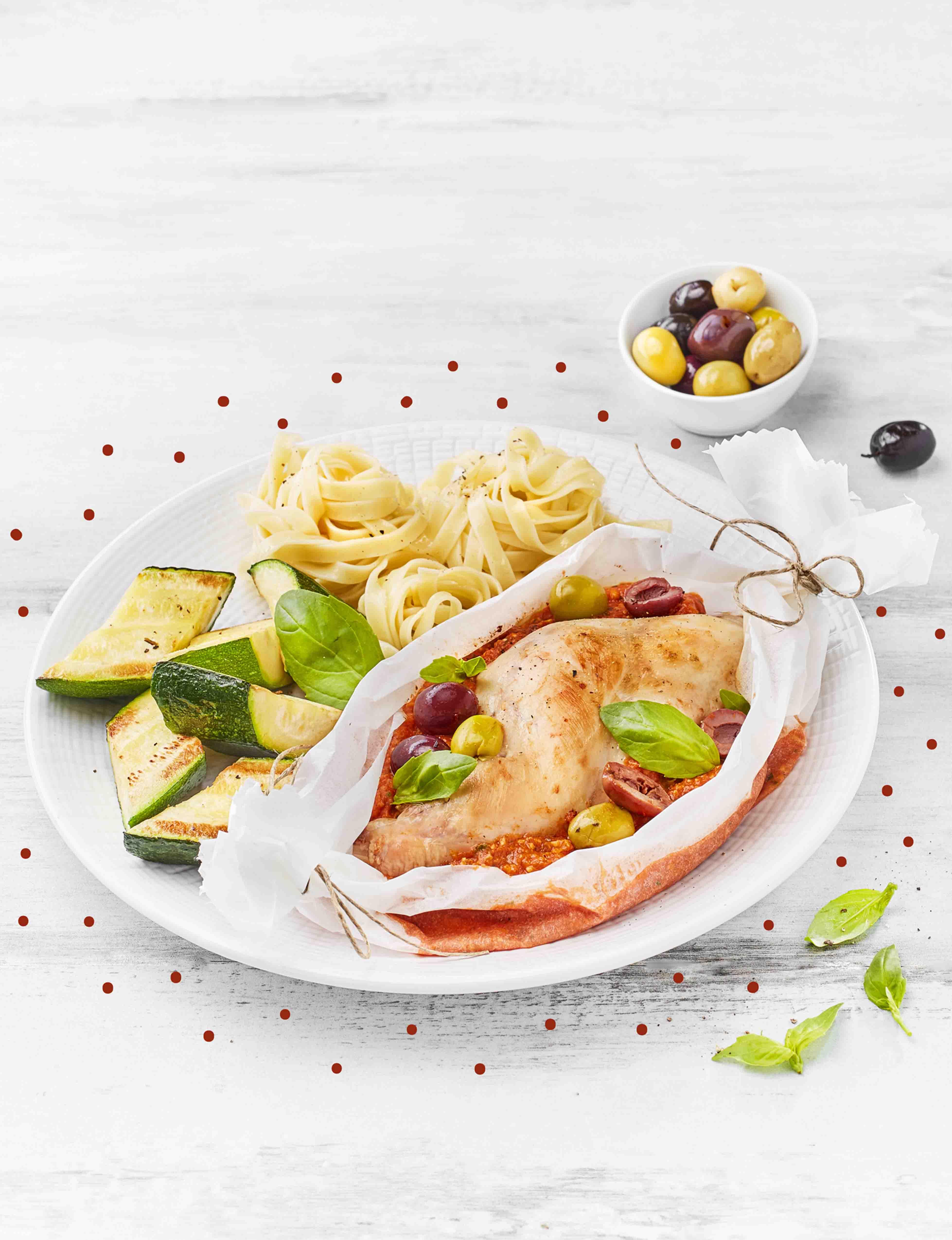 Cuisses de lapin en papillote au pistou rouge et olives