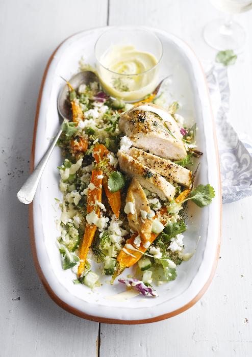 Poulet grillé et salade de quinoa sauce brebis-sésame