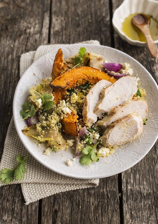 Couscous aux endives, courge et poulet