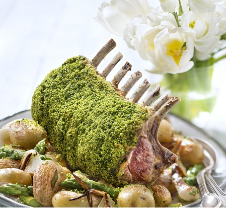 Carré d'agneau en croûte verte