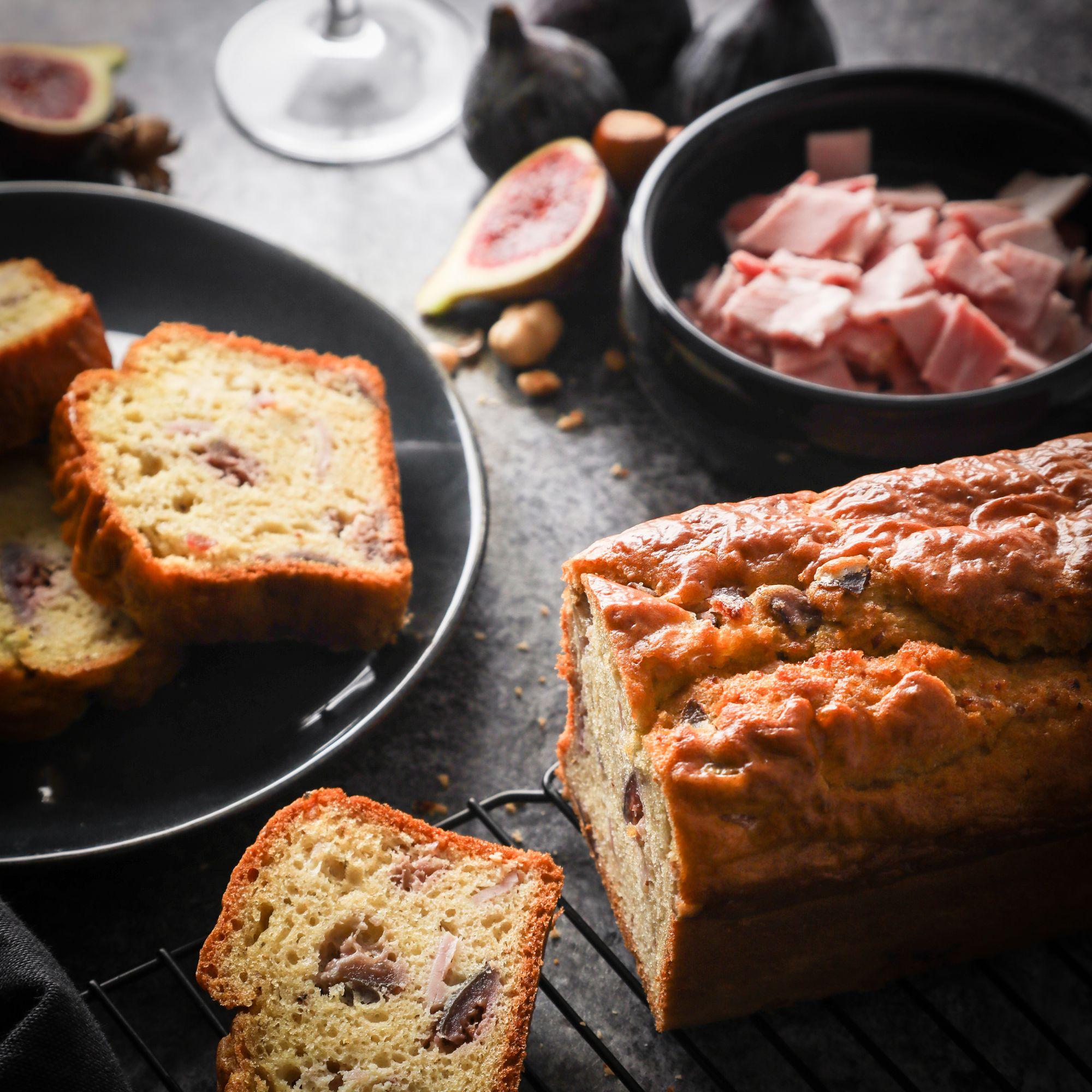 Cake au jambon à l'ancienne Label Rouge, aux noisettes et figues