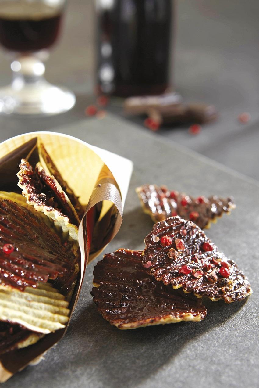 chips de Pompadour au chocolat noir et fleur de sel